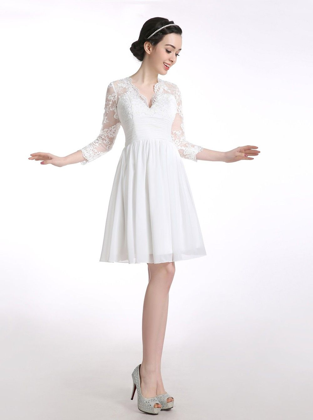 539d3696abe V-neck Chiffon Long Sleeves White Short Homecoming/Prom Dress With Appliques  - Dresstells.com