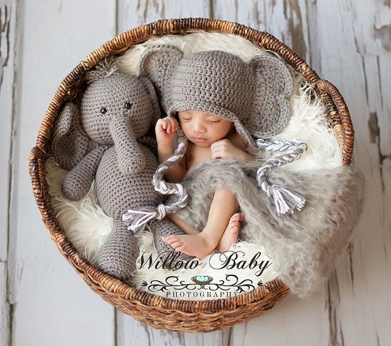 Crochet Stuffed Elephant And Elephant Hat Set For Photo