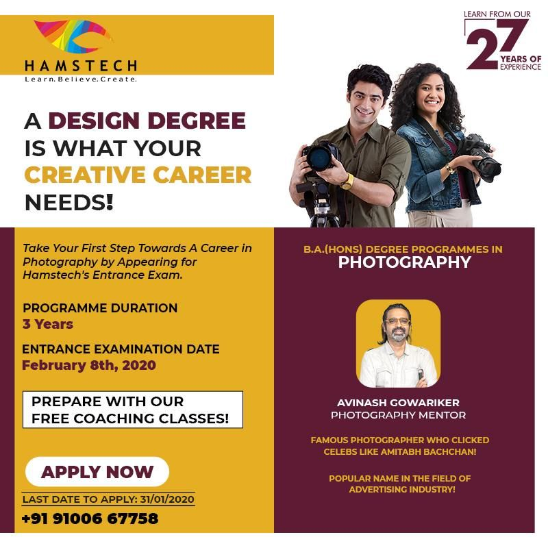 Get A B A Hons Degree In Photography With Hamstech Now Take Your Creativity To Another Degree And Turn In 2020 College Design Photography Programs Creative Careers