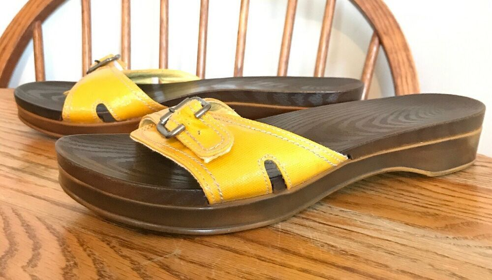 Dr Scholls Womens Yellow Patent Leather Land Slide Buckle Sandals New Size 11 M Fashion Clothing Shoes Accessor With Images Buckle Sandals Black Leather Wedges Sandals