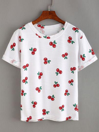 daa3cbecd9 Allover Cherry Print T-shirt   SheIn.com   Shirts, Printed shirts ...