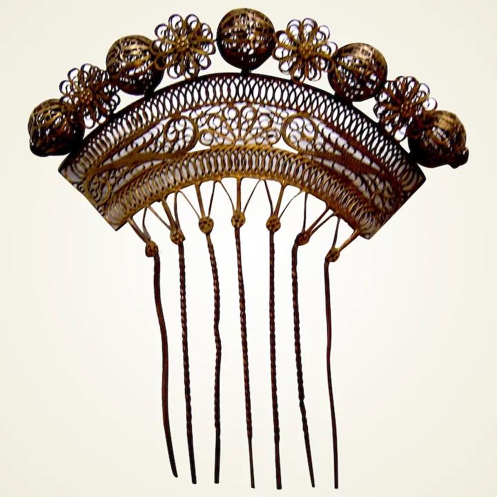 Goldtone metal filigree hair comb Philippines hair