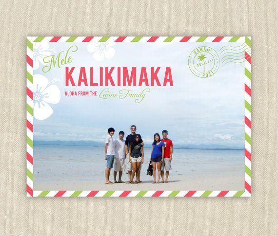 Mele Kalikimaka Christmas Cards.Printable Christmas Photo Cards Hawaiian Mele Kalikimaka By