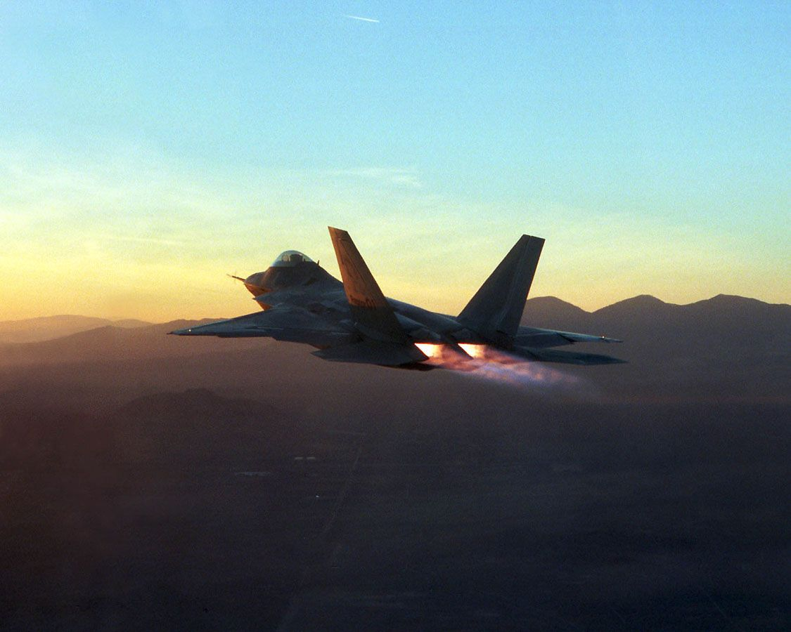 A F 22 Raptor In Full Afterburner During Flight Testing At Edwards Air Force Base California 1125x900 Lockheed Fighter Jets Raptor