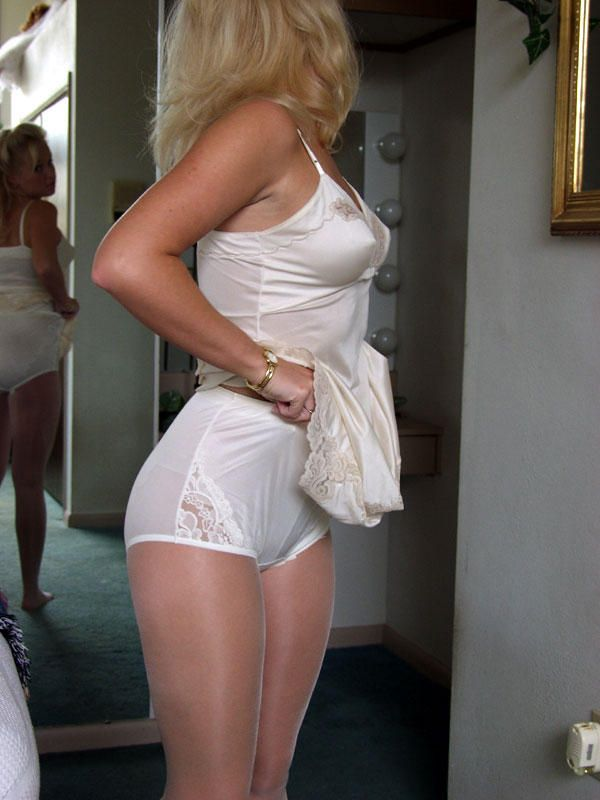 Real Women in Panties: Views of wife outdoors in white