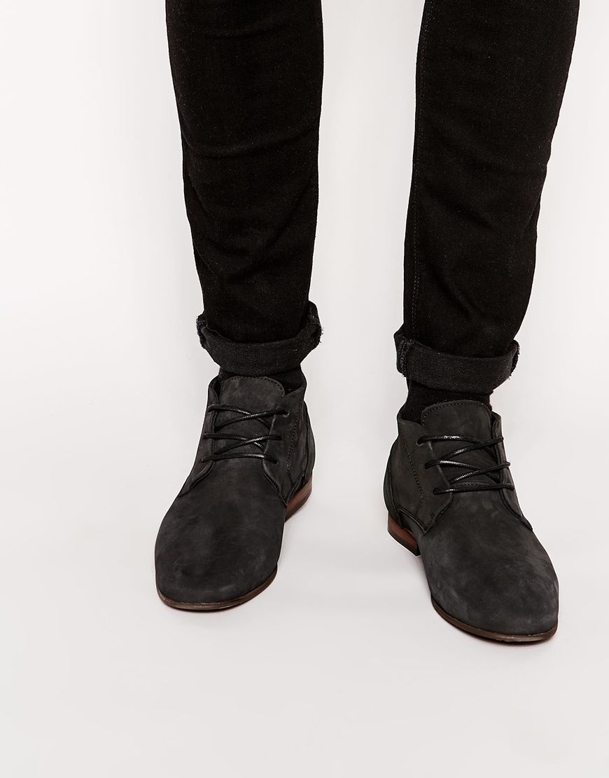 River Island Mens Dark leather chukka boots