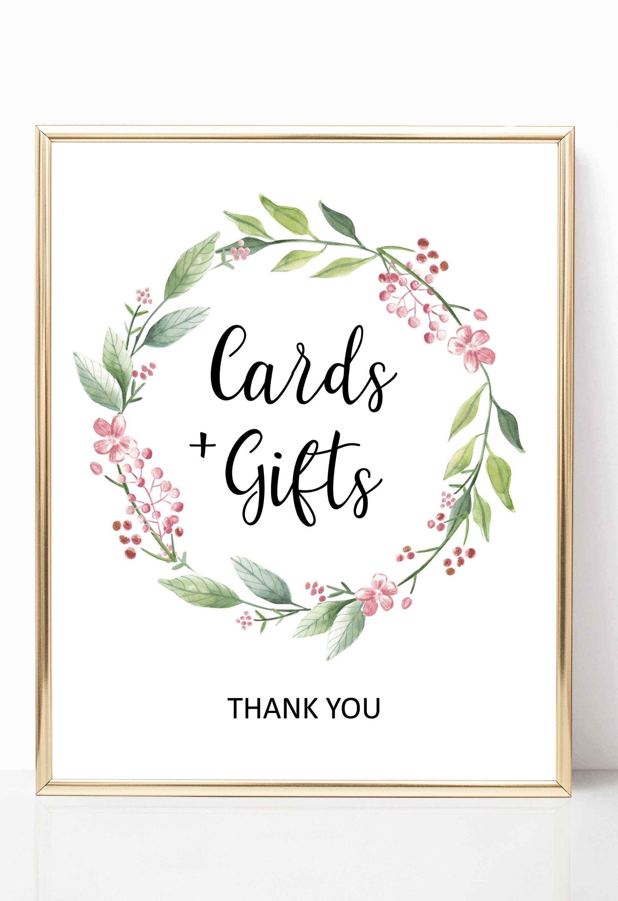 Baby shower cards and gifts sign printable bridal shower