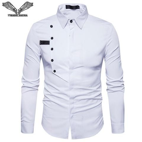 cb13ac52ff0 VISADA JAUNA 2018 New Arrival Shirts For Men Single-Breasted Decoration  Business Casual Shirts Men Slim Fit Cotton Shirts N8912