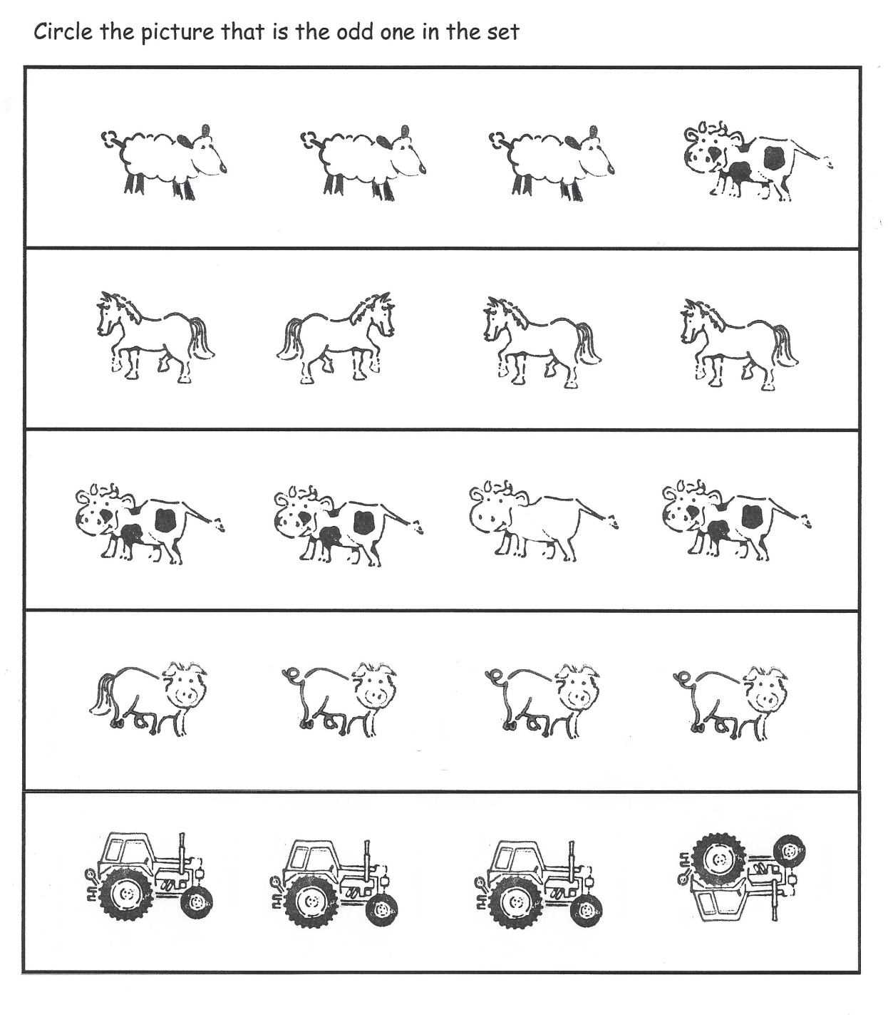 Odd One Out Farm Theme Differences Worksheet