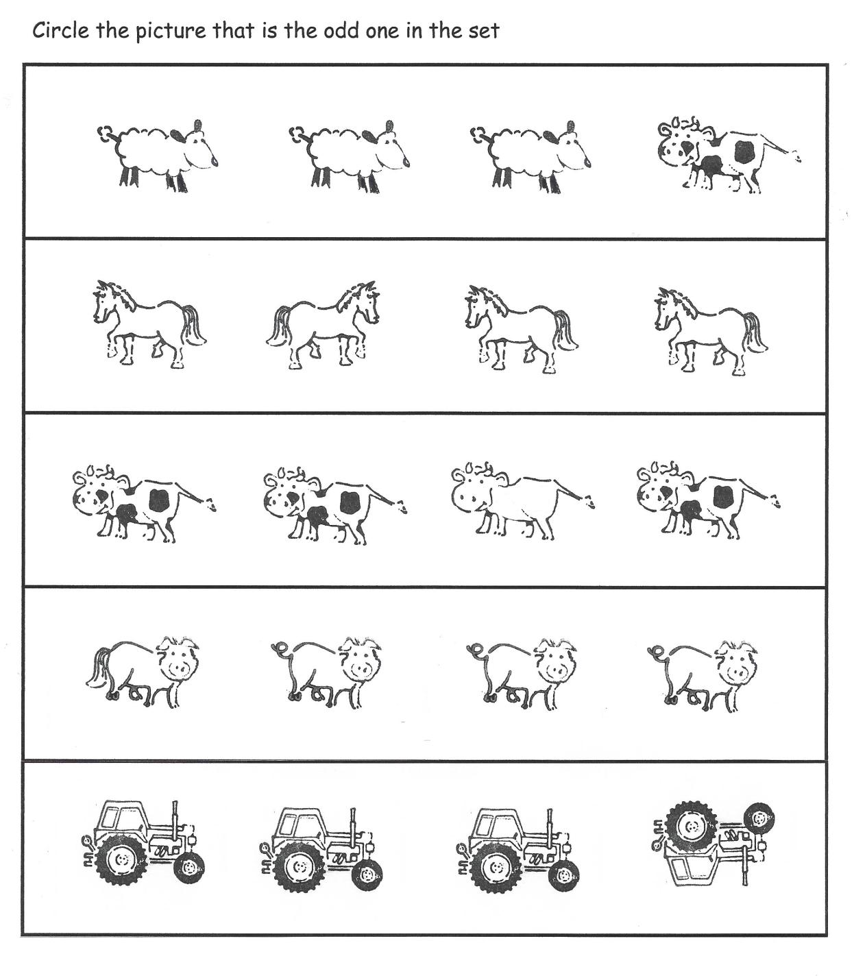 Odd One Out Farm Theme Differences Worksheet Farm Theme Farm Math Environmental Education [ 1427 x 1246 Pixel ]