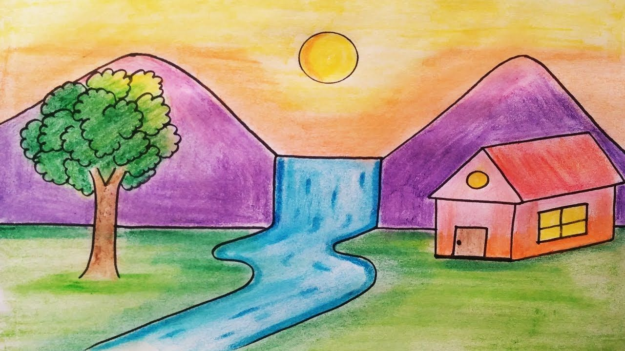 Easy Landscape Drawing For Kids And Beginners Landscape Drawing For Kids Scenery Drawing For Kids House Drawing For Kids