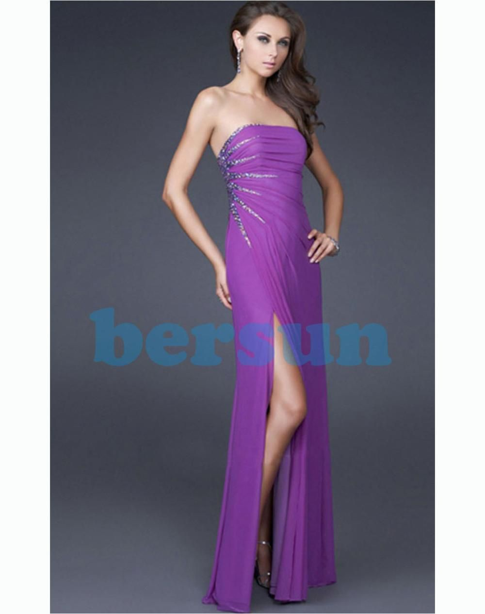 Bersun Abendkleider Slit Style Dress Purple A-Line Long Strapless Dress Formal Dress vestidos de festa Designers Free Shipping