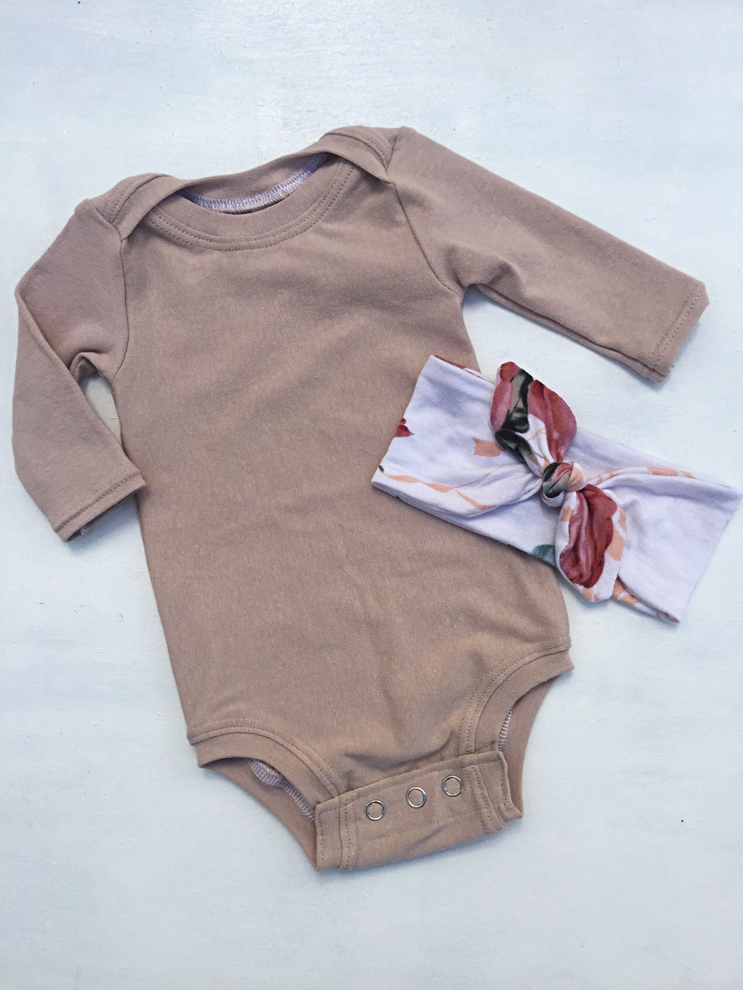 9c5cd674bee98 Nude baby bodysuit,solid color bodysuit,one piece outfit,cute baby clothes, baby head wrap,long sleeve bodysuit,baby head bow,baby clothes $30.00 2  available