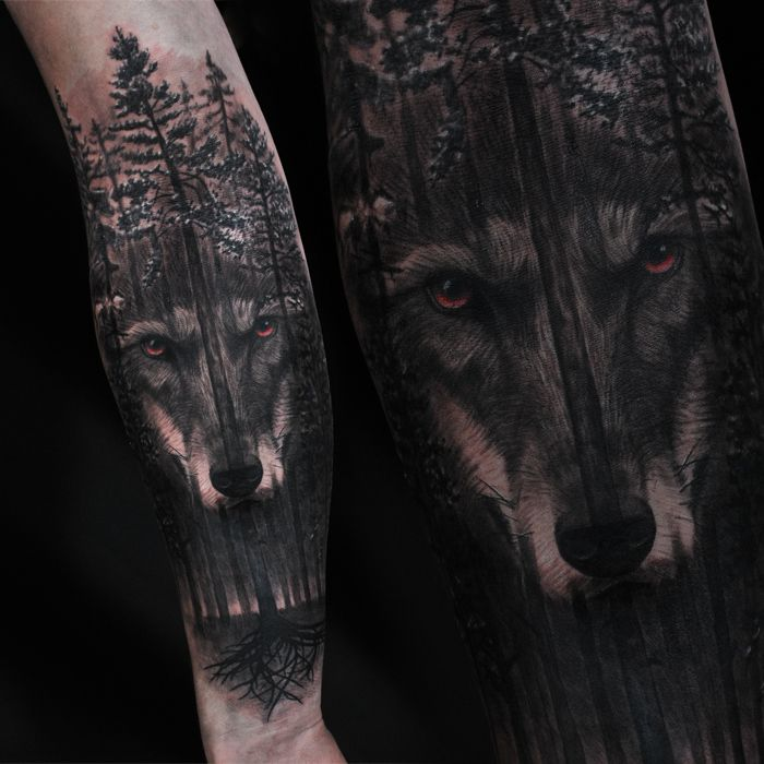 Freshly Done Black And Gray Wolf And Woods Artist Janis Andersons Wolf Wolftattoo Tattoo Blacka Nature Tattoo Sleeve Wolf Tattoo Sleeve Wolf Tattoos Men