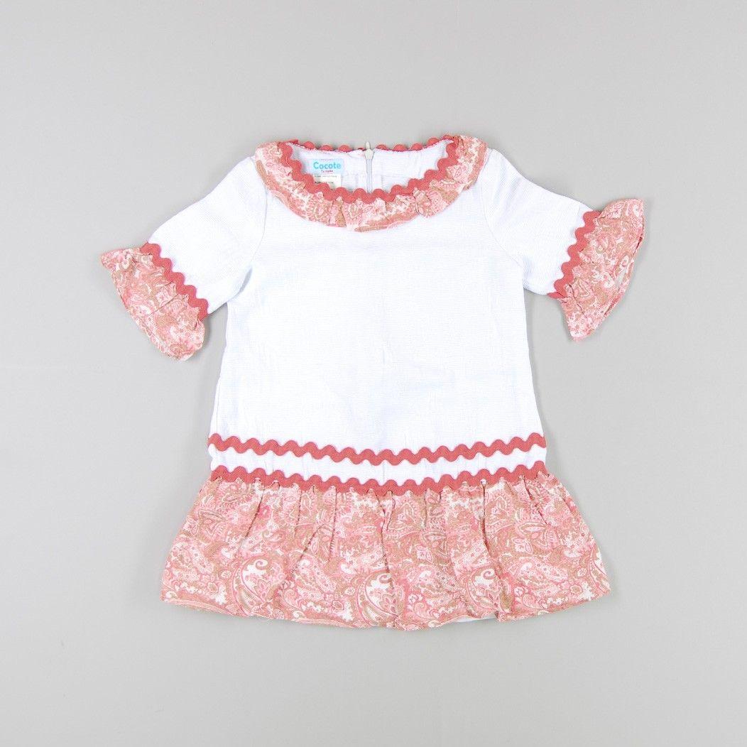 Vestido con detalles de flores de color Blanco de marca Cocote ...