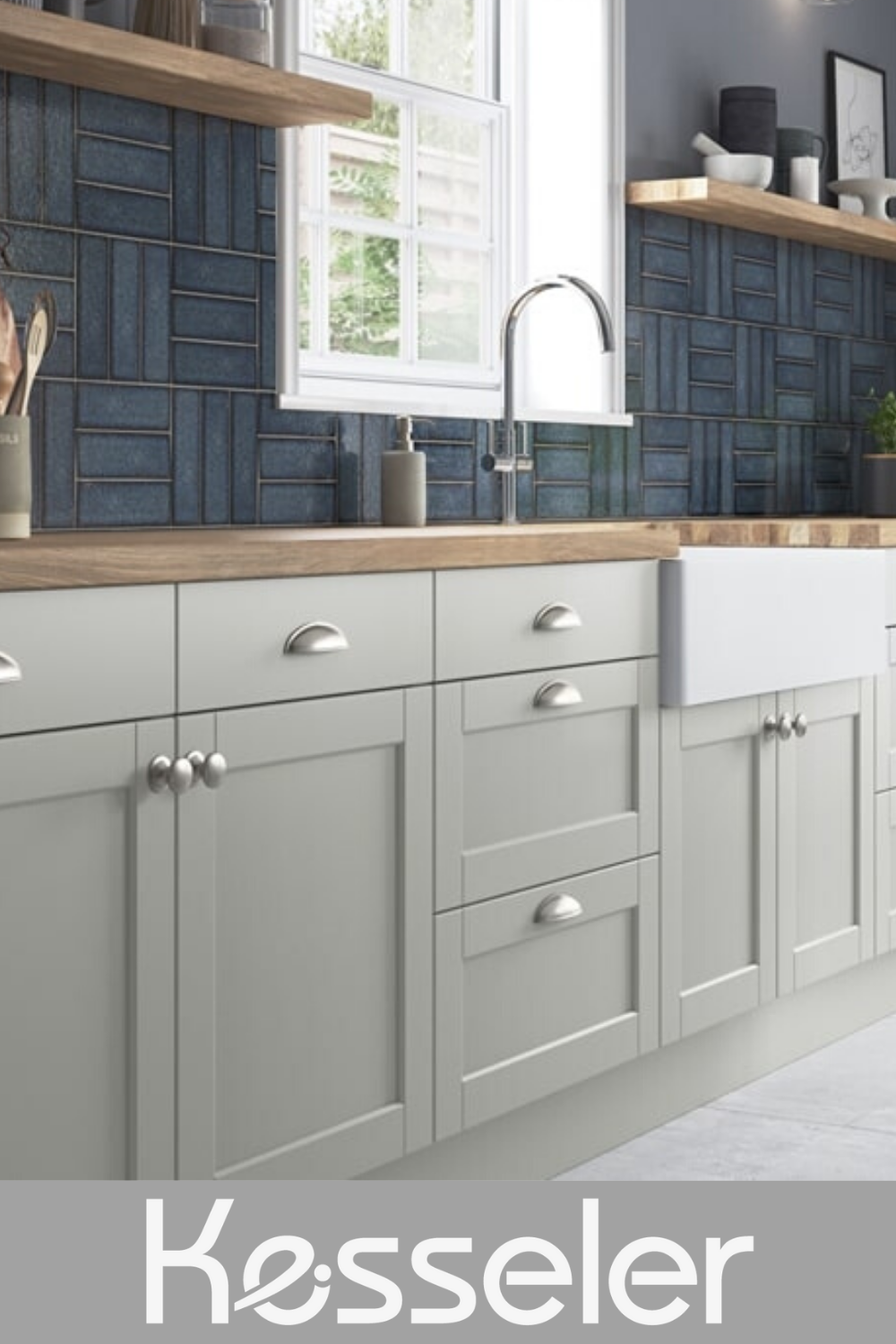 Light Grey Shaker Kitchen With Wood Worktop In 2020 Shaker Style Kitchen Cabinets Grey Shaker Kitchen Grey Kitchen Designs