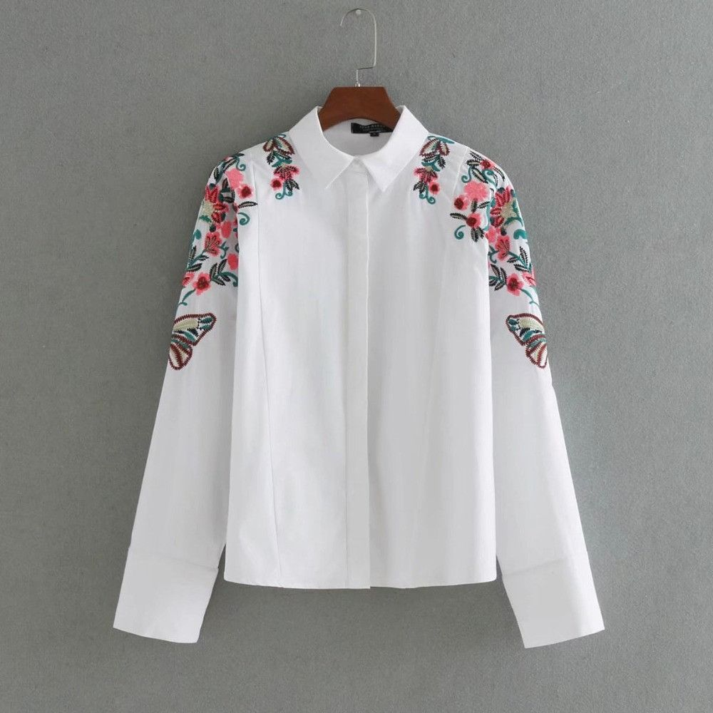 Ct fashion floral embroidery long bat sleeve cotton white women