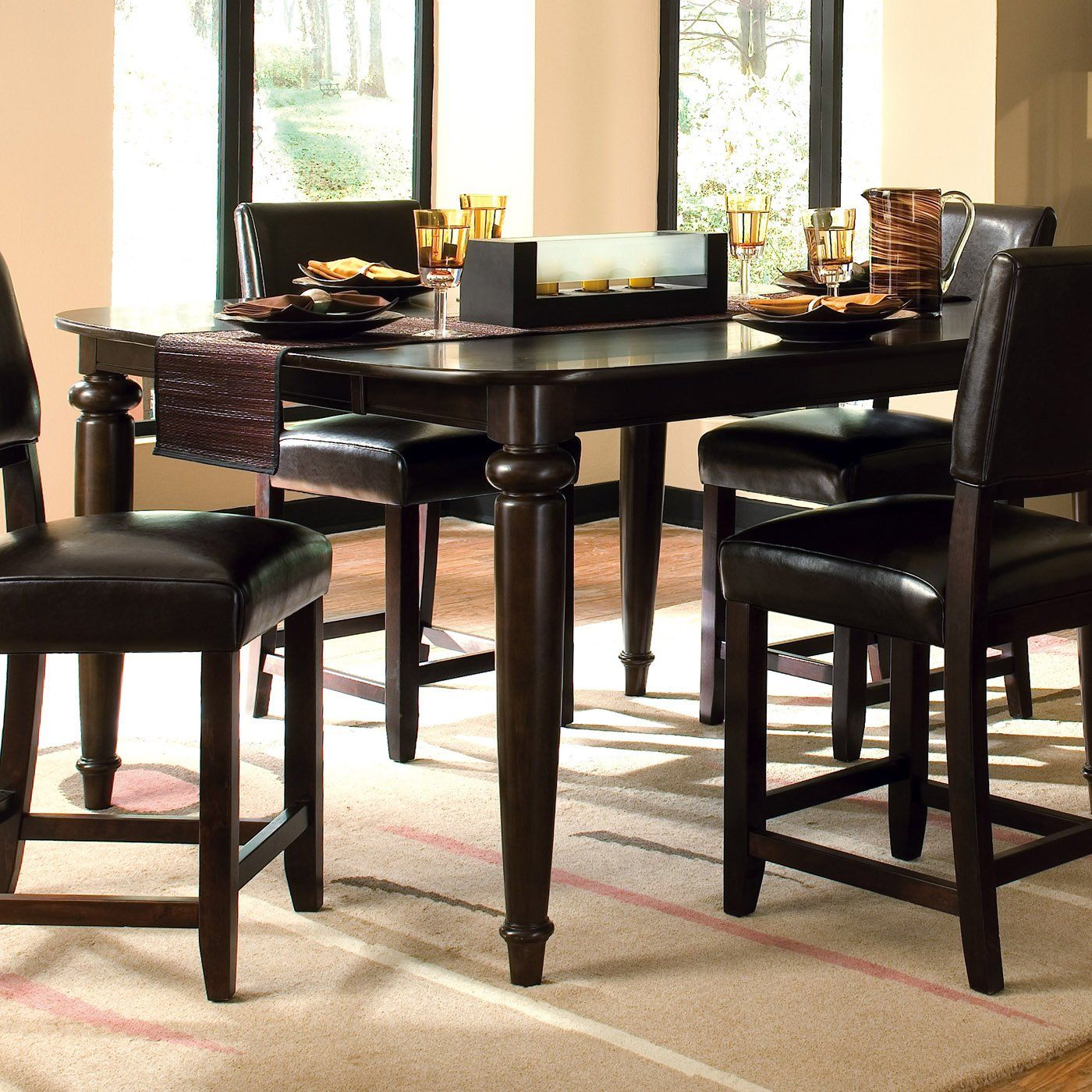 Somerset Tall Table W 4 Leather Chairs By Kincaid Furniture