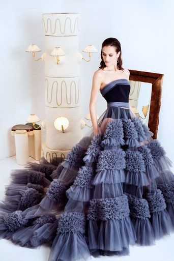 Strapless Embroidered Tulle Gown