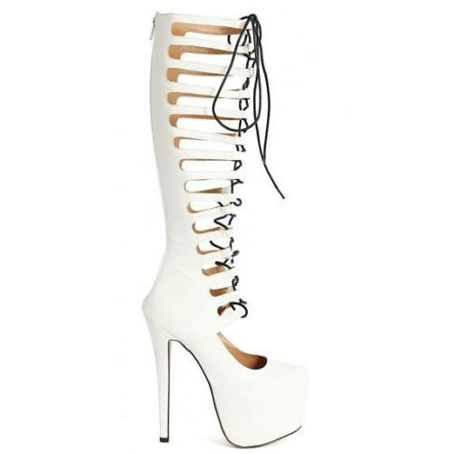 Nelly-56 Lace up Knee-high Gladiator Platform High Heel Shoes