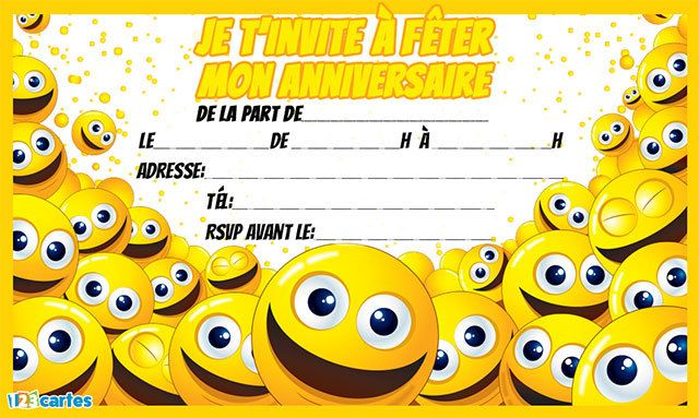 Invitation anniversaire smileys | Cartes invitation anniversaire enfant, Invitation anniversaire ...
