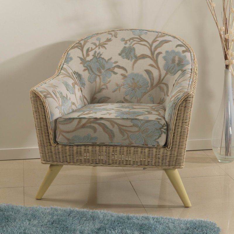 Wooden Tub Chair Beige Floral Flared Arms Washable Cushion Living ...