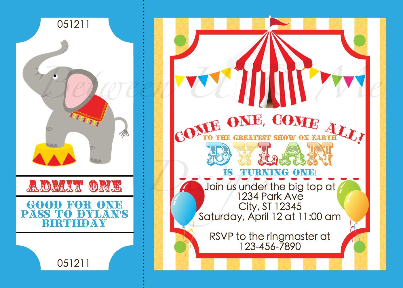 Personalized Carnival Circus Birthday Party Invitation Printable Digital File 1500 Via Etsy