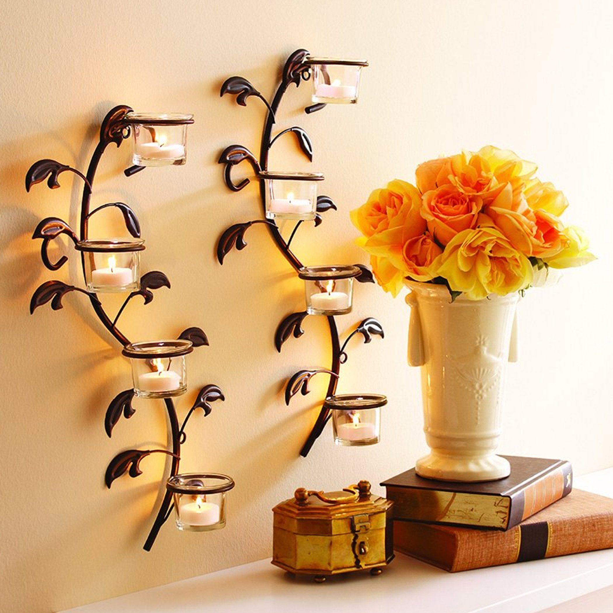 Hosleys Leaf Wall Art Candle Holder Wall Sconce Plaque Set Of 2 Tea Light Holder 16 Hig Wall Candle Holders Iron Wall Candle Holders Candle Holder Wall Sconce
