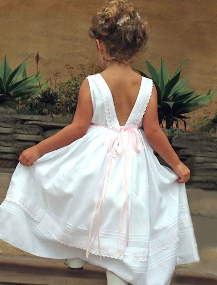 Ribbons cotton girls dress pinterest girls dresses flower girl ribbons cotton girls dress back view with pink ribbon detail mightylinksfo