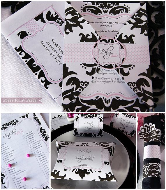 Damask Baby Shower Printables  Black and Pink  by PressPrintParty, $15.00