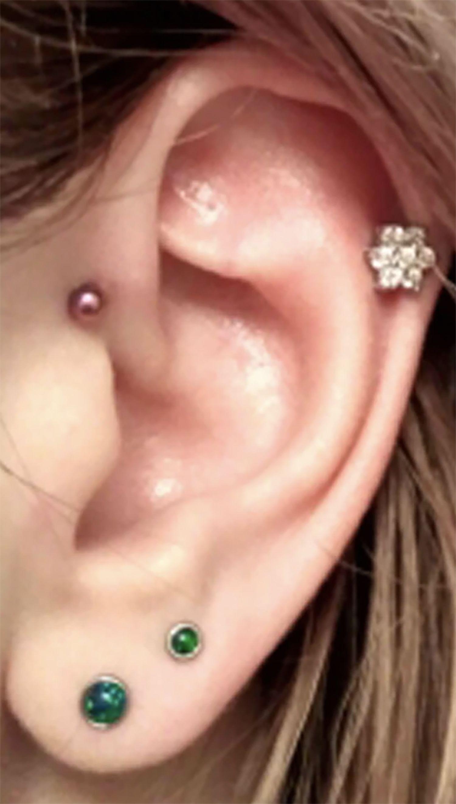 Dazzle Opal Ear Piercing in Emerald in 2020 | Ear piercings