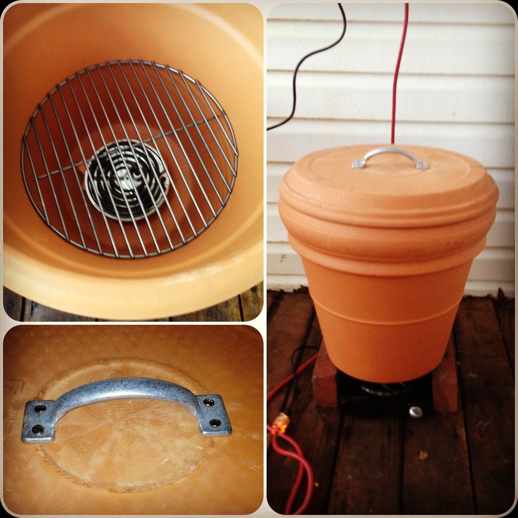 I made this Ceramic smoker with a huge (unglazed) flower pot, a grill grate and a hot plate for