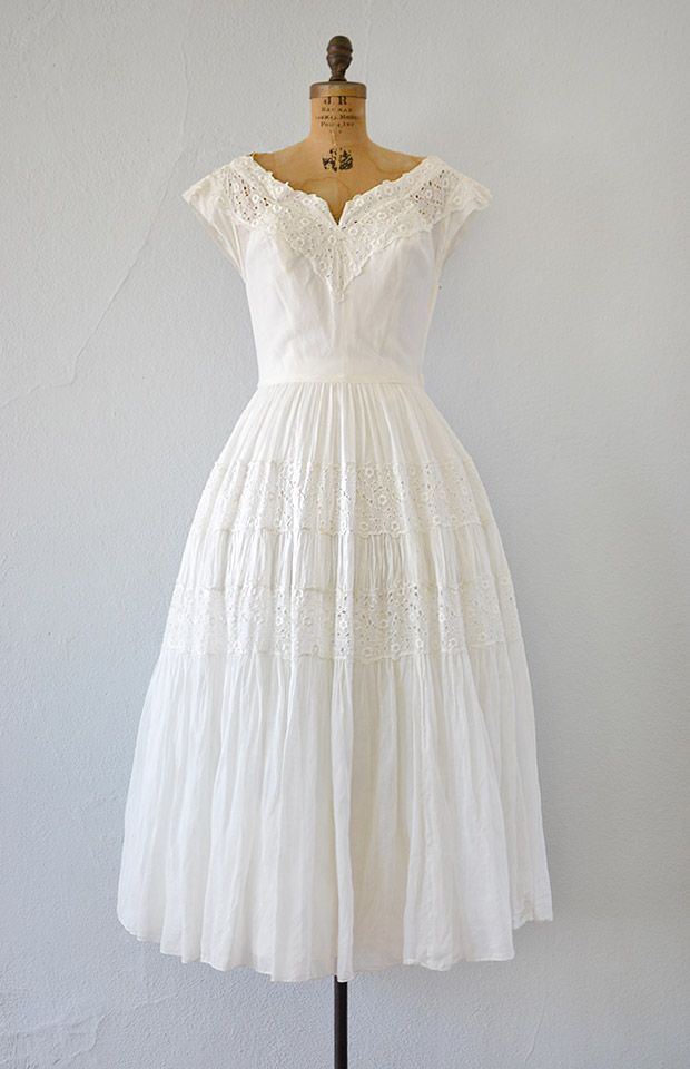 Vintage 1940s White Eyelet Wedding Dress Hither My Love