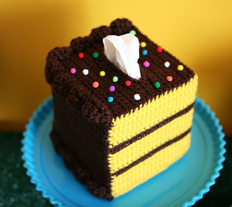 A #tissueboxbakery original! We love cake ALMOST as much as we love crochet DIYs!   Beacon's Fabri-Tac is perfect for adding crocheted elements and embellishments (sprinkles & whipped cream) onto larger pieces (cake)! ???? #crochetelements