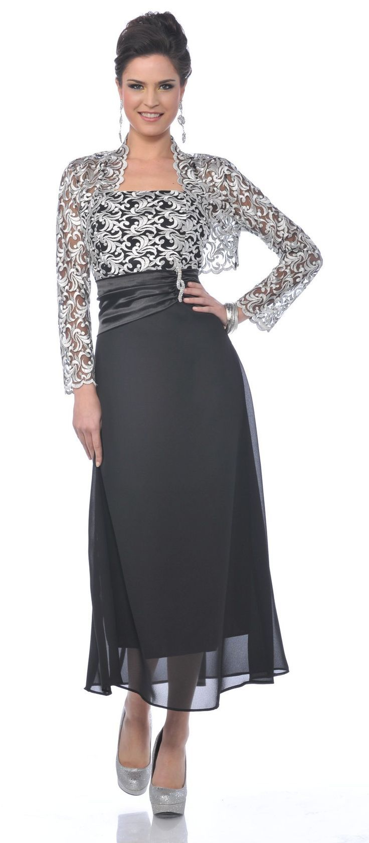 mother of the bride tea length gowns   black/silver embroider top