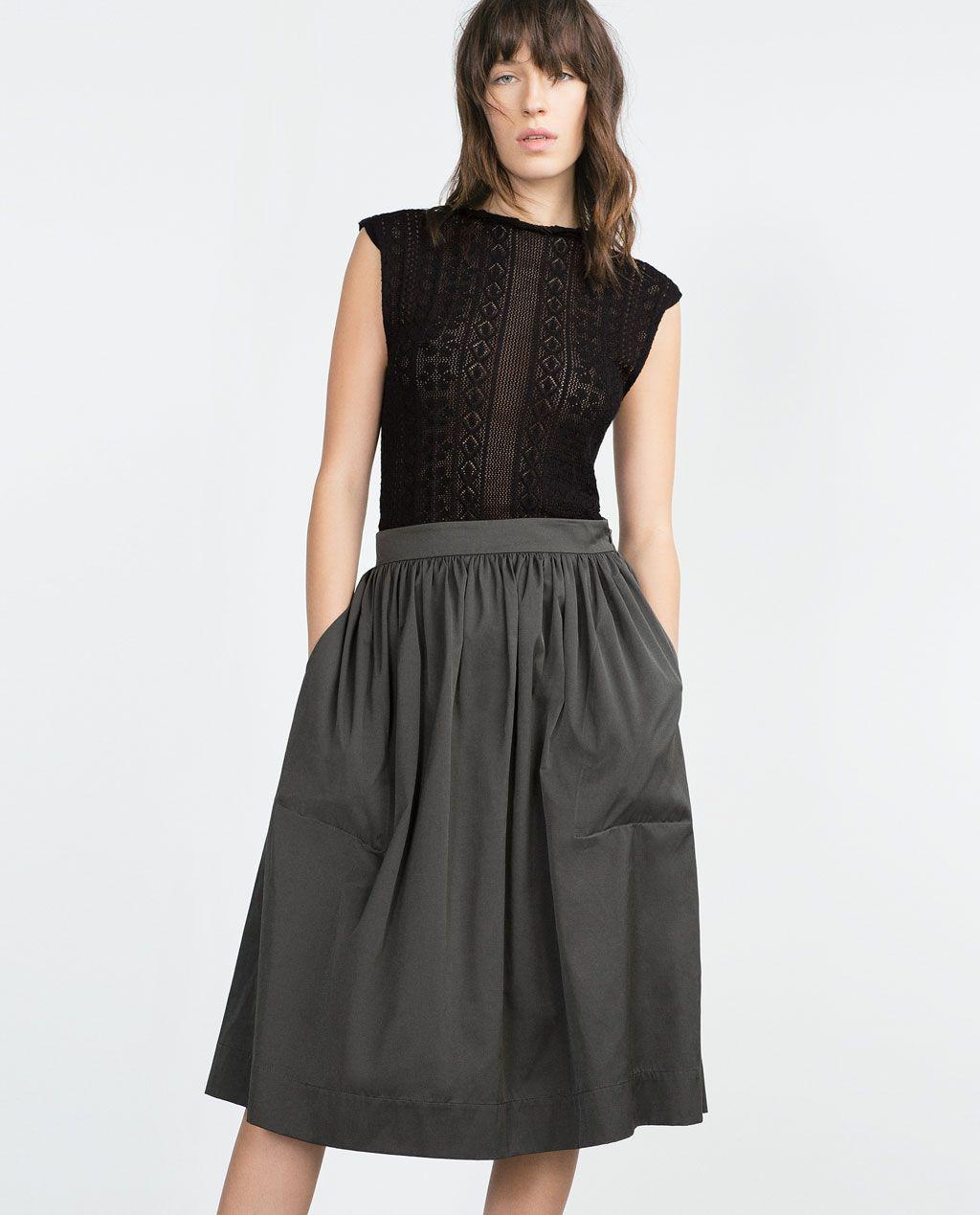 Longue 40€ Falda De Con Vuelo Midi Jupe Mi Negra Zara w11fUq