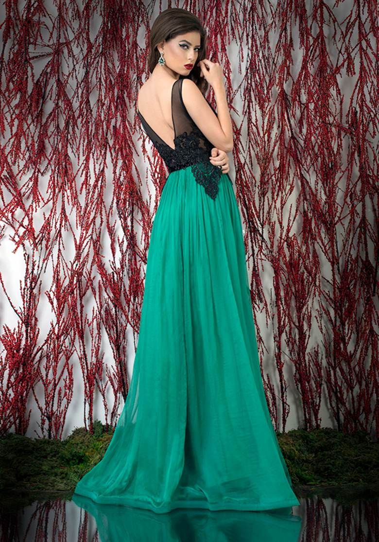 Magical sexy see through chiffon green prom dress evening u prom