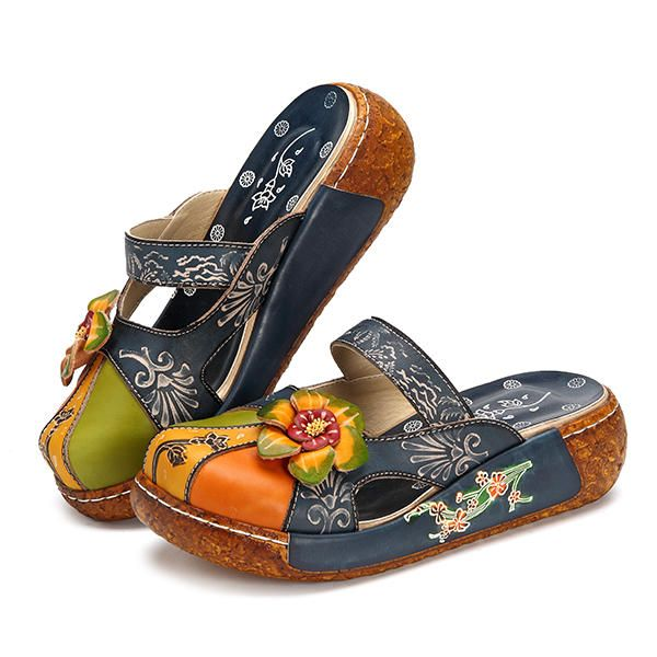 Only US$63 88 shop socofy leather flats loafers at Banggood com  Buy fashion flat & loafers online   Banggood Mobile is part of Flower shoes -