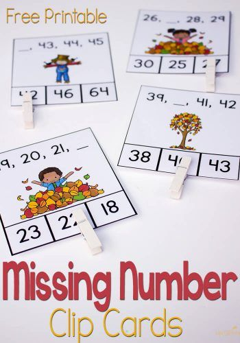 Free Missing Number Clip Cards for Fall | Thema: Herfst | Pinterest ...