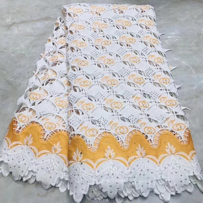 High Quality African Bazin Lace Fabric 5 YardsLot Wedding Dresses for Women With Beaded Black Green White Nigerian Swiss Voile Lace Fabric