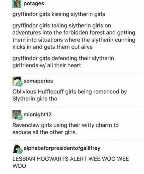 MY CRUSH IS IN SLYTHERIN AND IM GRYFFINDOR