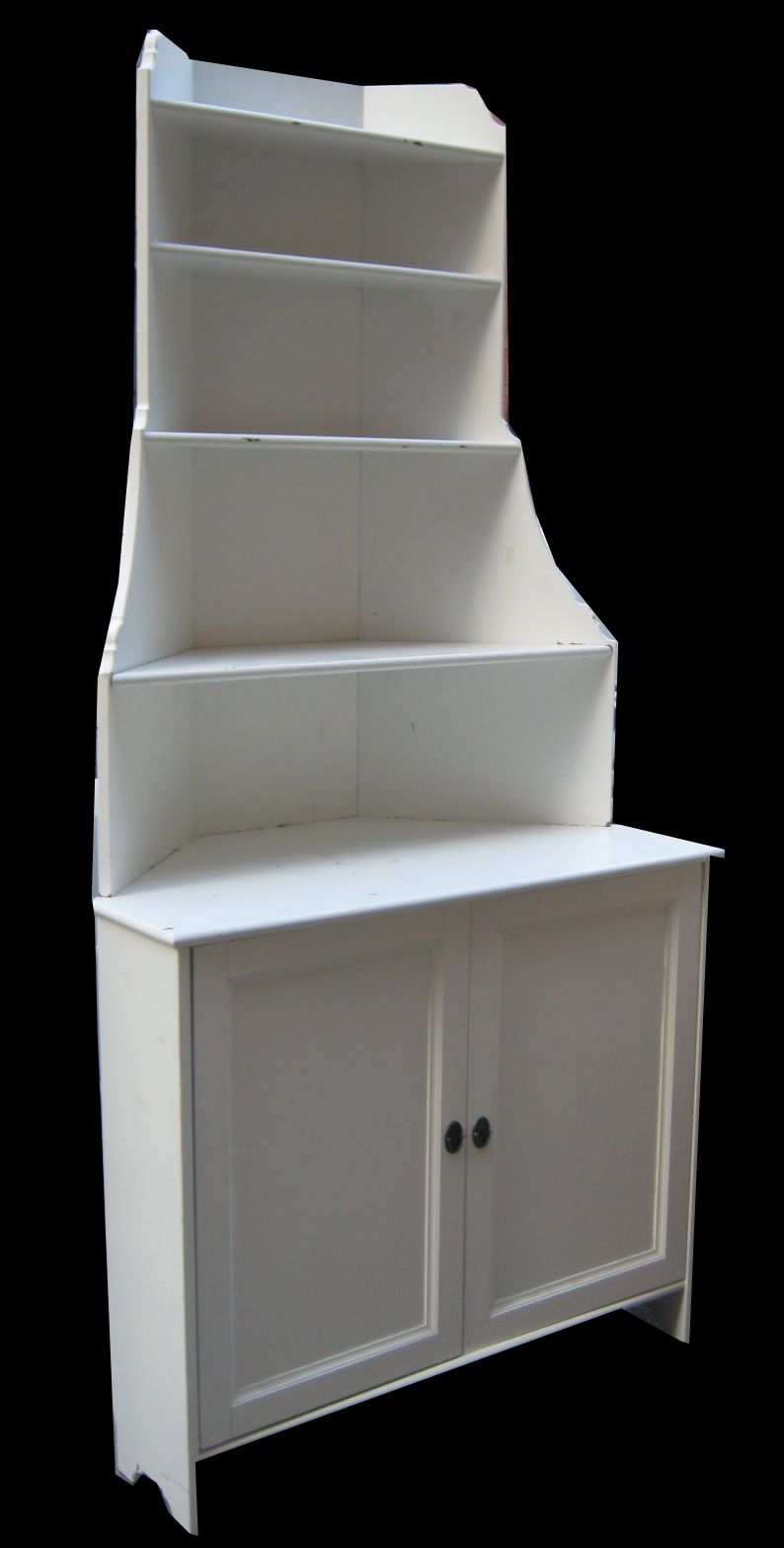 white wooden corner shelving unit with double drawer
