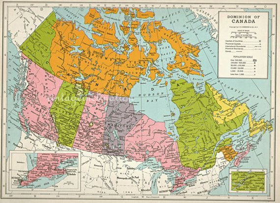 1940s Vintage map of CANADA cartography Canada maps | Map ...