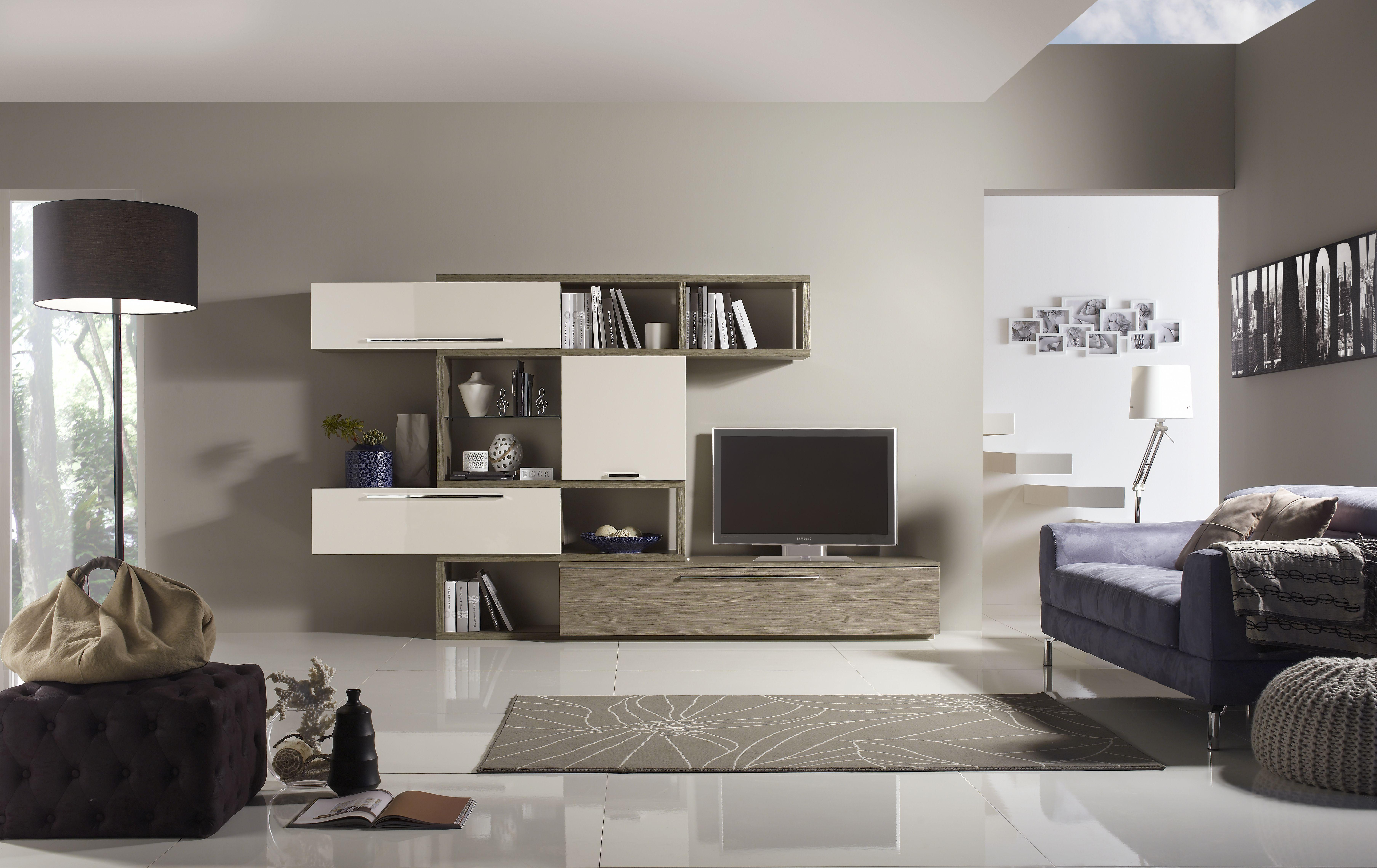 Parete Attrezzata Tortora E Bianco soggiorni moderni color tortora: soggiorno larice lucido