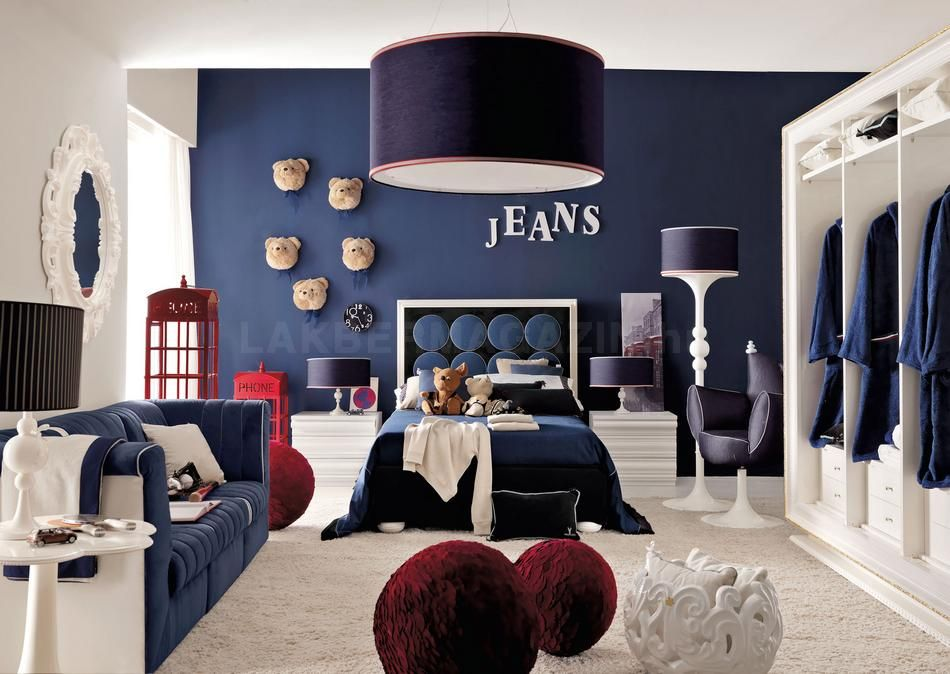 boys bedroom ideas decorating Blue denim Bedrooms and White closet