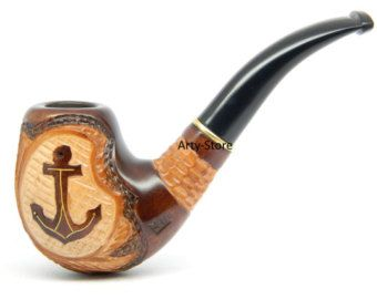Tobacco smoking pipe USN Anchor 9mm filter Hand by ArtyStore