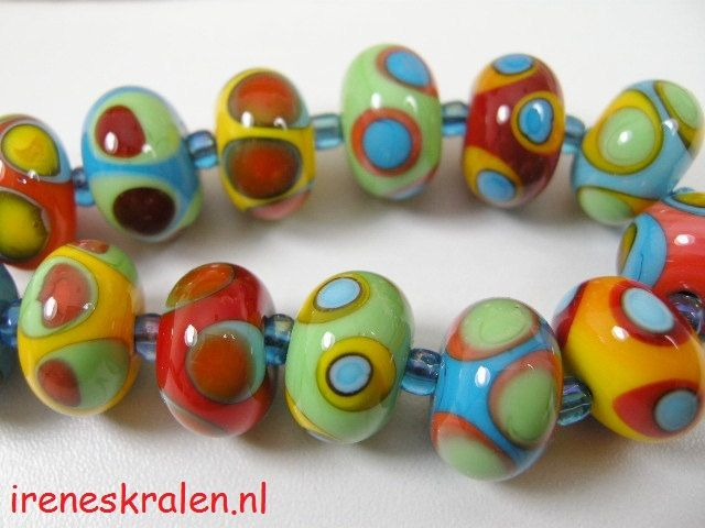 Multicolor Set Glass Lampwork Beads by IrenesBeads