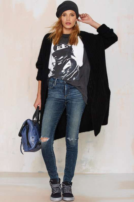 Cardi, tucked in graphic tee, knit hat