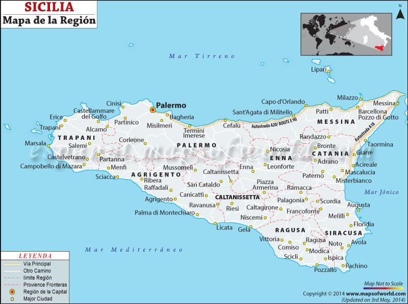 Mapa De Sicilia Italia.Sicilia Mapa In 2019 Sicily Italy Map