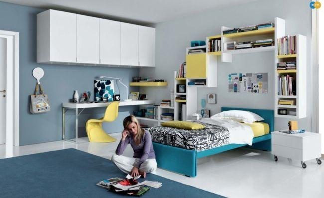 ideen teenager zimmer m dchen blau gelb wei regale ber bett inspiration. Black Bedroom Furniture Sets. Home Design Ideas